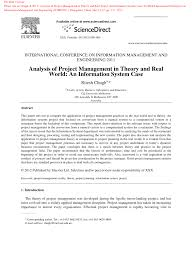 analysis of project management in theory and real world an