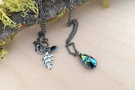 handmade charm necklace images Iridescent green beetle necklace cute insect charm necklace jpeg