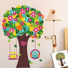 wall stickers zoo yoo swing owls and colorful tree wall sticker
