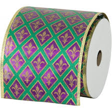 mardi gras ribbon 4 metallic fleur de lis diamond mardi gras ribbon 10 yards mg