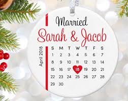 wedding gift for couple christmas ornaments personalized first