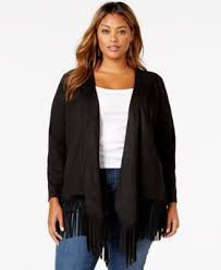 american rag plus size faux suede fringe cardigan only at macy s