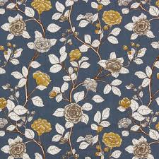 blue cotton floral upholstery fabric contemporary yellow