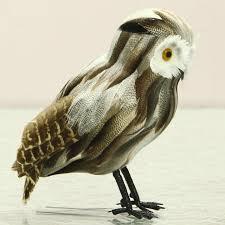 lifelike feather owl creative animal figurine handmade garden