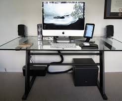 Black And Chrome Computer Desk Desk Glass Home Office Black Metal Desk With Glass Top Green