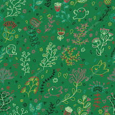 green colored floral seamless pattern vector wallpaper with birds