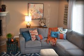 blue and orange room orange and grey living room fireplace living