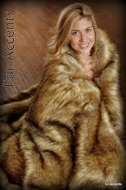 Faux Fur Throw Blanket Faux Fur Throw Blanket Light Golden Brown Coyote Wolf