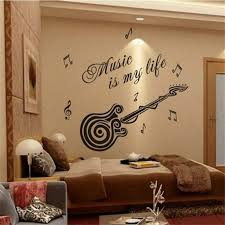 music is my life guitar pattern vinyl decal sticker wall decals