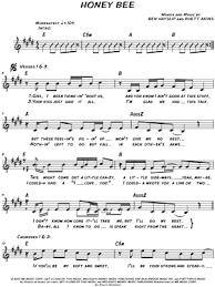 printable lyrics honey bee blake shelton blake shelton honey bee sheet music leadsheet in e major