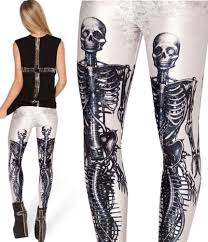 womens skeleton leggings halloween bone print ladies shinny fancy