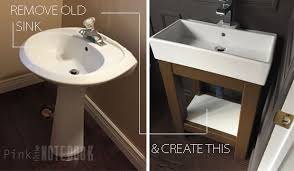 powder room sinks and vanities stylish powder room vanity with tutorial how to make a pink little