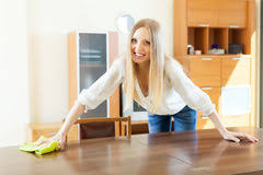 Cleaning Table Stock Images Royalty by Woman And Cleaning At Home Stock Photo Image 49769828