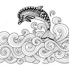 zentangle dolphin vector coloring page art coloring pages