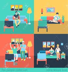Livingroom Cartoon Set Of Friends Family In Living Room Watch Tv Leisure Flat People