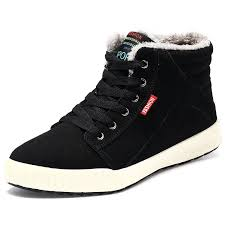 men u0027s snow boots high top shoes fully fur lining leather sport