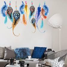 candy color feather wall sticker indian style bedroom sofa