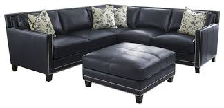Navy Blue Leather Sectional Sofa Leather Sectional Sofa With Nailheads Catosfera Net