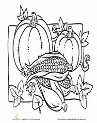 color the thanksgiving harvest food worksheet education