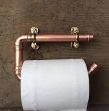 Copper Pipe Toilet Roll Holder Rustic Bathroom Fixture Artisan Copper Bathroom Fixtures