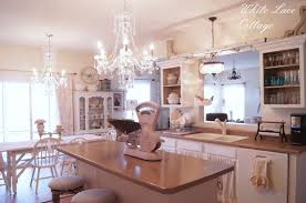 Kitchen Chandeliers Lighting Crystal Chandeliers Shabby Romantic Kitchen White Lace Cottage