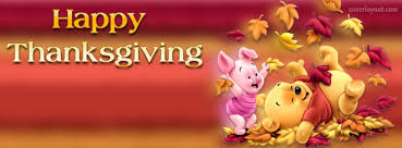 pooh piglet happy thanksgiving leafs cover pooh