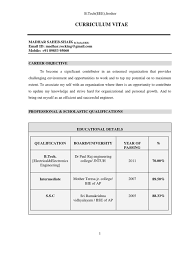 Resume Format Pdf For Ece Engineering Freshers by B Tech Eee 2011 Fresher Resume Electrical Engineering