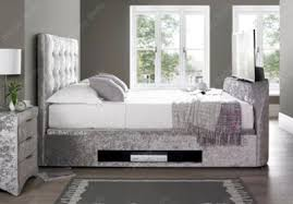 buy happy beds barnard silver velvet fabric tv ottoman storage bed