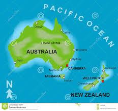 Muito Mapa De Austrália E De Nova Zelândia Ilustração do Vetor  &ZJ63