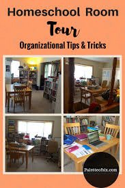 homeschool room tour tips on how to organize materials on a