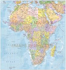 Map Of Africa Political by Digital Vector Africa Political Map With Colour Relief 10 000 000