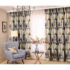 Geometric Pattern Curtains Gradient Green And Navy Blue Geometric Pattern Linen Cotton Cool