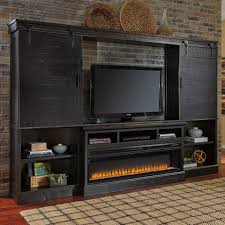 Tv Stand With Fireplace Signature Design By Ashley Sharlowe Dark Finish Wall Unit W