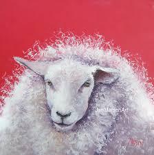 Sheep Home Decor Jan Matson Etsy Art Etsy Art Sheep Painting U0027hillary U0027