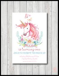 personalised unicorn birthday invitation for girls pink watercolour