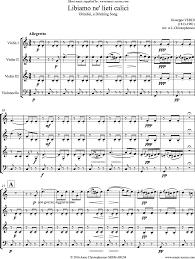 la traviata brindisi 3 violins cello sheet music by giuseppe