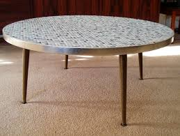 large round cocktail table mid century modern eames era mosaic tile coffee table