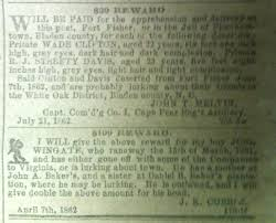 8 august 1862 u201ctwenty five dollars reward will be paid for her
