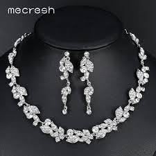 wedding necklace bride images Mecresh leaf crystal wedding jewelry sets for bride silver color jpg