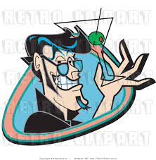 martini glass with olive royalty free vector retro illustration of a grinning man holding