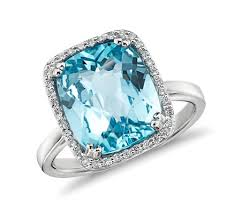 blue topaz engagement rings sky blue topaz and diamond halo cushion cut ring in 14k white gold