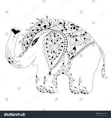 cute baby elephant zen tangle style stock illustration 686632267