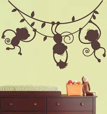 Safari Nursery Wall Decals Monkey Wall Decal Jungle Safari 3 Hanging Monkey Silhouette