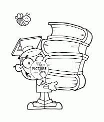 boy with big books coloring page for kids back to