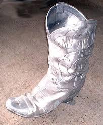 cowboy boot planter decoration western style motif cast aluminium