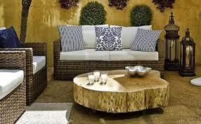 Patio Furniture Rattan Summer Decorating Ideas Patio Terrace Wooden Log Coffee Table