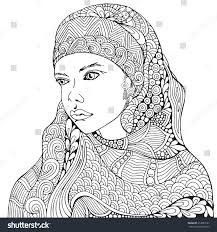 arabic muslim woman hijab coloring book stock vector 613989161