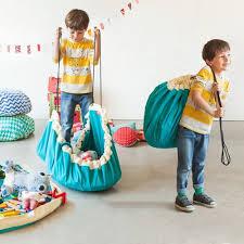 jeux de rangement de chambre sac de rangement tapis de jeu en coton play and go turquoise