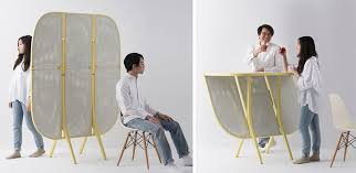 a room divider designed to transform into a bar table contemporist