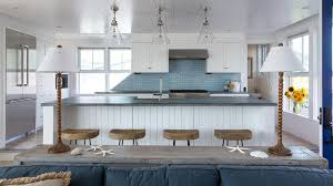 Maine Kitchen Cabinets Blue Kitchen Cabinets With White Mini Brick Tile Backsplash